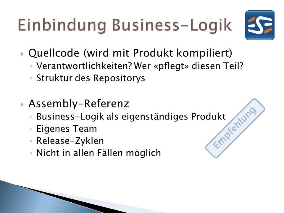 Quellcode (wird mit Produkt kompiliert) Verantwortlichkeiten? Wer «pflegt» diesen Teil? Struktur des Repositorys Assembly-Referenz Business-Logik als