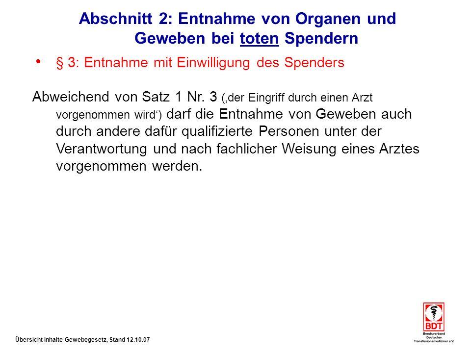 Übersicht Inhalte Gewebegesetz, Stand 12.10.07 Abschnitt 5a: Richtlinien zum Stand der Erkenntnisse der med.