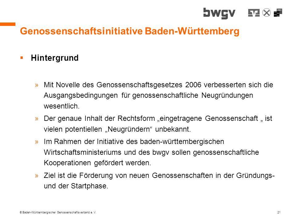 © Baden-Württembergischer Genossenschaftsverband e. V. 21 Genossenschaftsinitiative Baden-Württemberg Hintergrund »Mit Novelle des Genossenschaftsgese