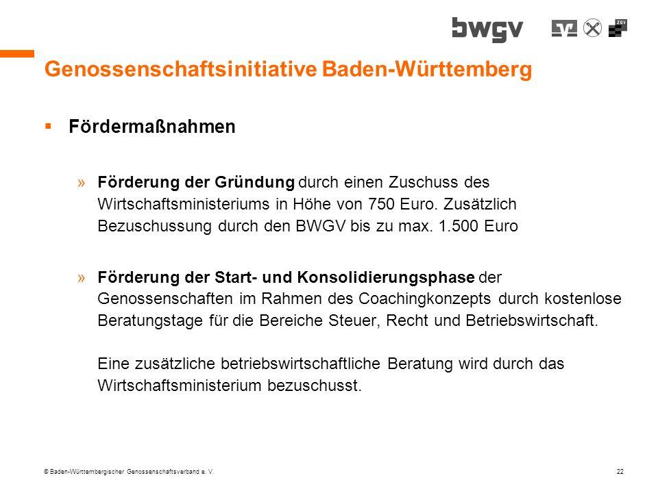 © Baden-Württembergischer Genossenschaftsverband e. V. 22 Genossenschaftsinitiative Baden-Württemberg Fördermaßnahmen »Förderung der Gründung durch ei