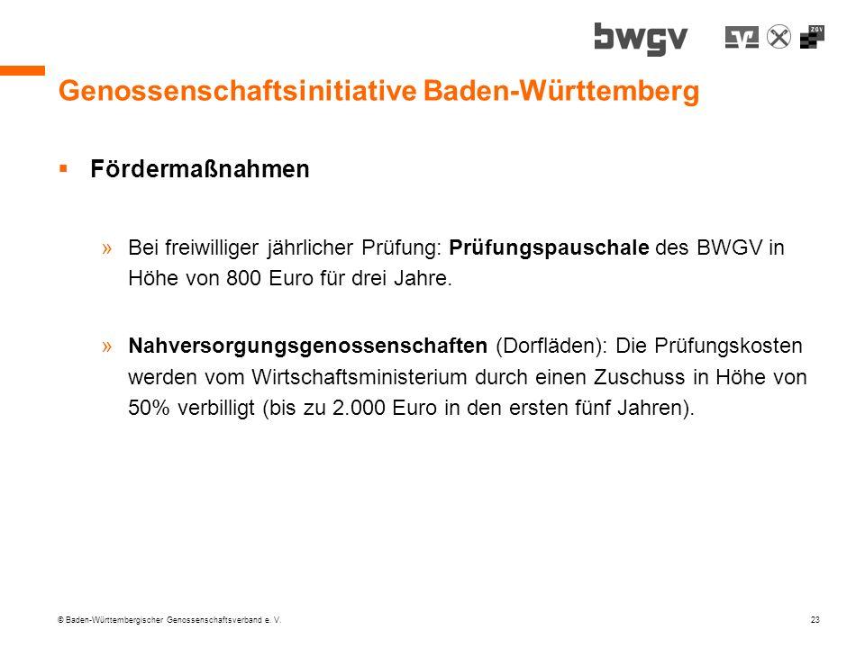 © Baden-Württembergischer Genossenschaftsverband e. V. 23 Genossenschaftsinitiative Baden-Württemberg Fördermaßnahmen »Bei freiwilliger jährlicher Prü
