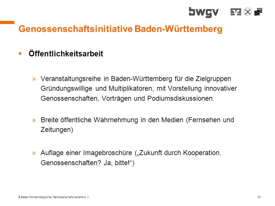 © Baden-Württembergischer Genossenschaftsverband e. V. 24 Genossenschaftsinitiative Baden-Württemberg Öffentlichkeitsarbeit »Veranstaltungsreihe in Ba