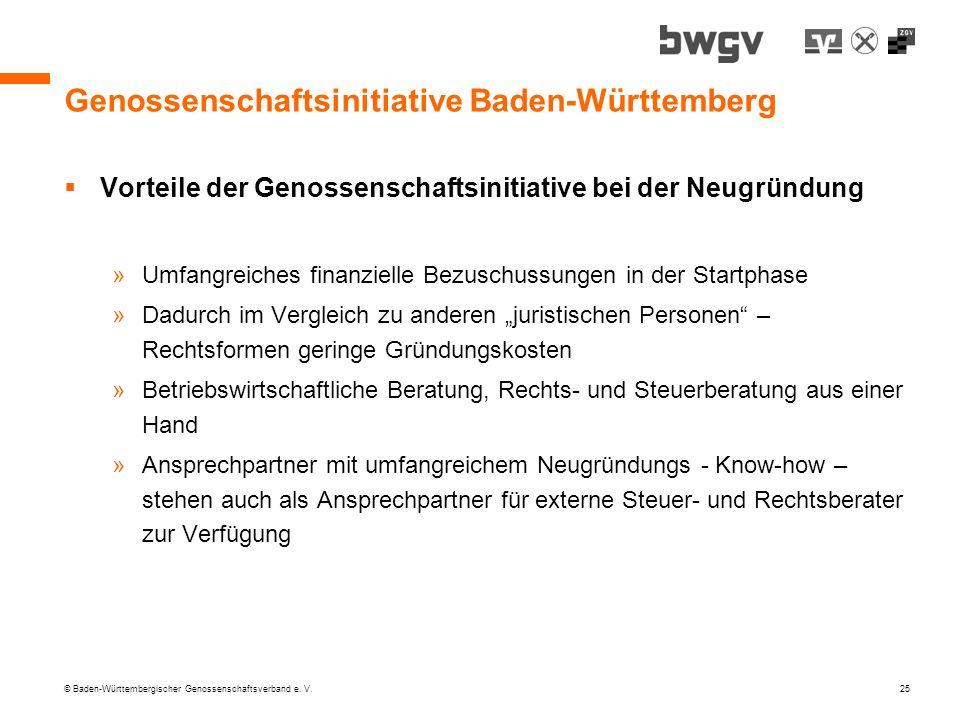 © Baden-Württembergischer Genossenschaftsverband e. V. 25 Genossenschaftsinitiative Baden-Württemberg Vorteile der Genossenschaftsinitiative bei der N