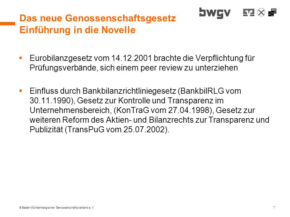 © Baden-Württembergischer Genossenschaftsverband e. V. 7 Das neue Genossenschaftsgesetz Einführung in die Novelle Eurobilanzgesetz vom 14.12.2001 brac