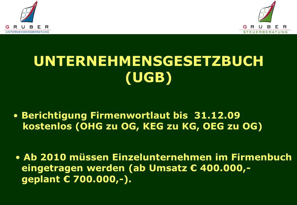 UNTERNEHMENSGESETZBUCH (UGB) Berichtigung Firmenwortlaut bis 31.12.09 kostenlos (OHG zu OG, KEG zu KG, OEG zu OG) Ab 2010 müssen Einzelunternehmen im Firmenbuch eingetragen werden (ab Umsatz 400.000,- geplant 700.000,-).