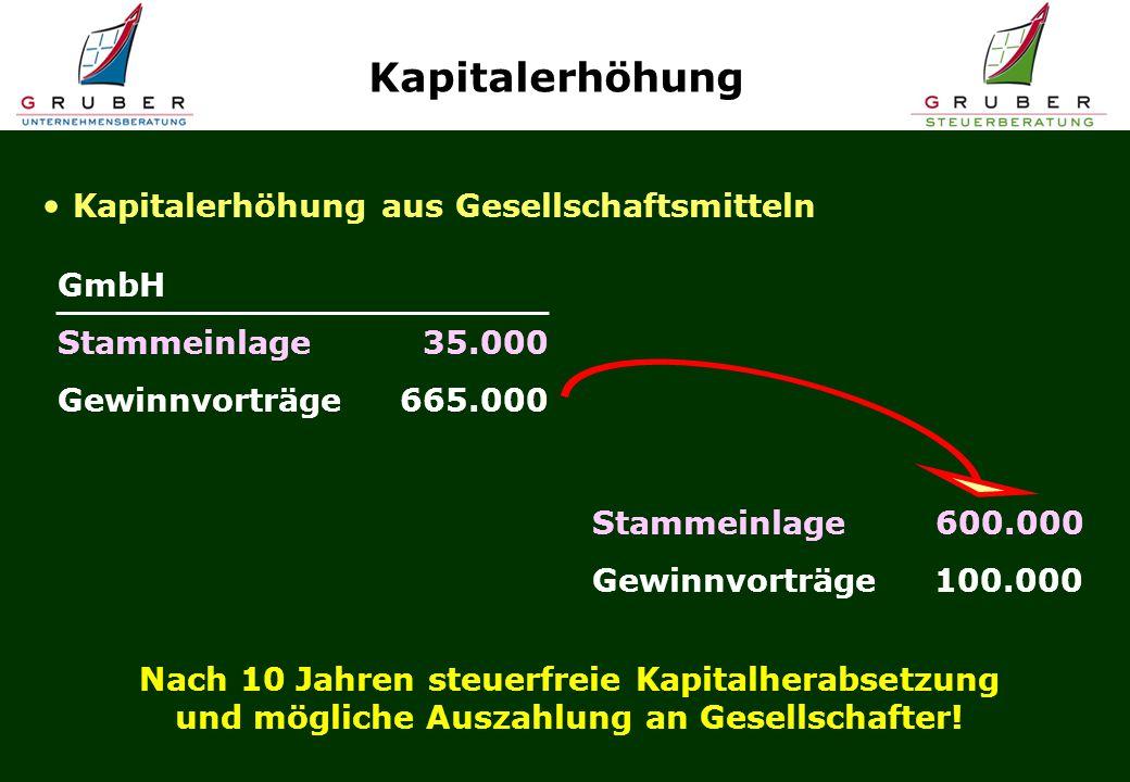 GmbH Stammeinlage 35.000 Gewinnvorträge 665.000 Kapitalerhöhung Kapitalerhöhung aus Gesellschaftsmitteln Stammeinlage 600.000 Gewinnvorträge 100.000 Nach 10 Jahren steuerfreie Kapitalherabsetzung und mögliche Auszahlung an Gesellschafter!