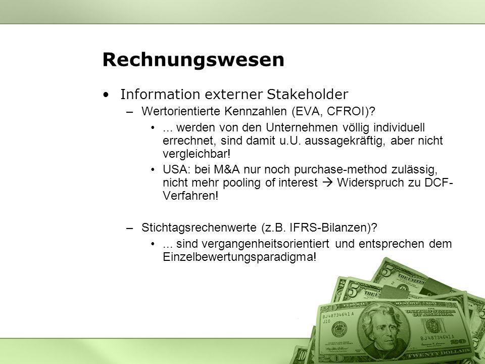 Rechnungswesen Information externer Stakeholder –Wertorientierte Kennzahlen (EVA, CFROI)?...