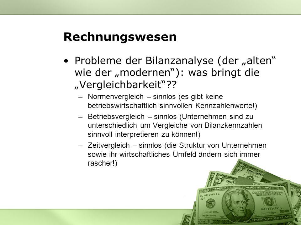 Rechnungswesen Probleme der Bilanzanalyse (der alten wie der modernen): was bringt die Vergleichbarkeit?.