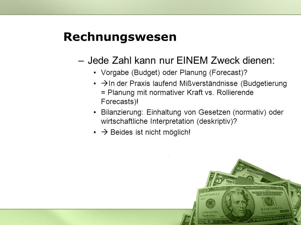 Rechnungswesen –Jede Zahl kann nur EINEM Zweck dienen: Vorgabe (Budget) oder Planung (Forecast).
