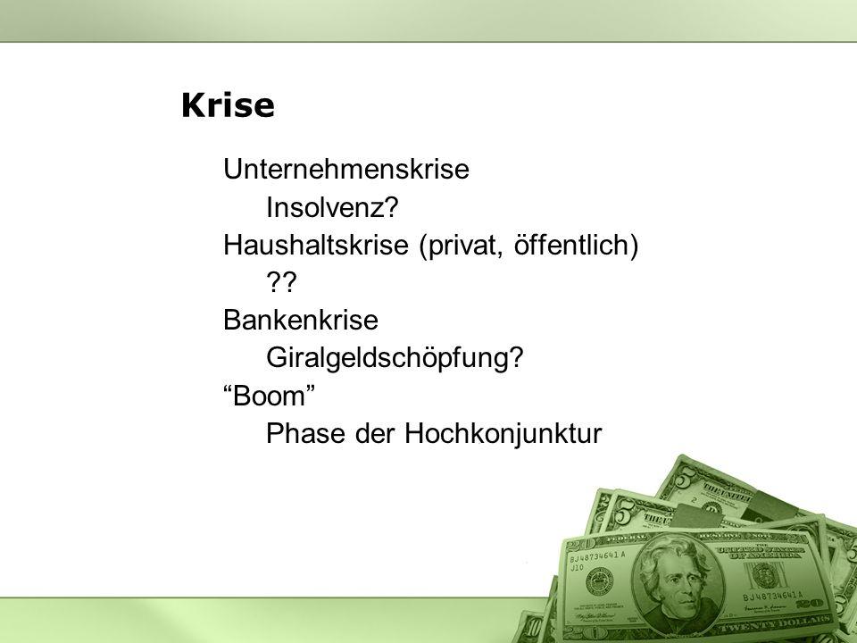 Krise Unternehmenskrise Insolvenz.Haushaltskrise (privat, öffentlich) ?.