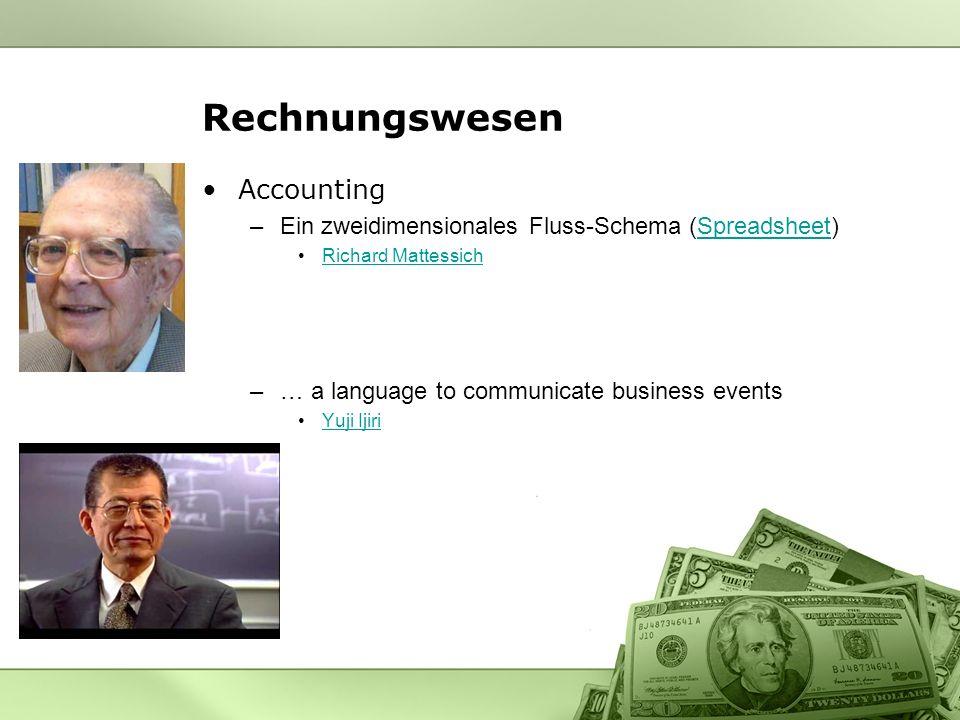 Rechnungswesen Accounting –Ein zweidimensionales Fluss-Schema (Spreadsheet)Spreadsheet Richard Mattessich –… a language to communicate business events Yuji Ijiri
