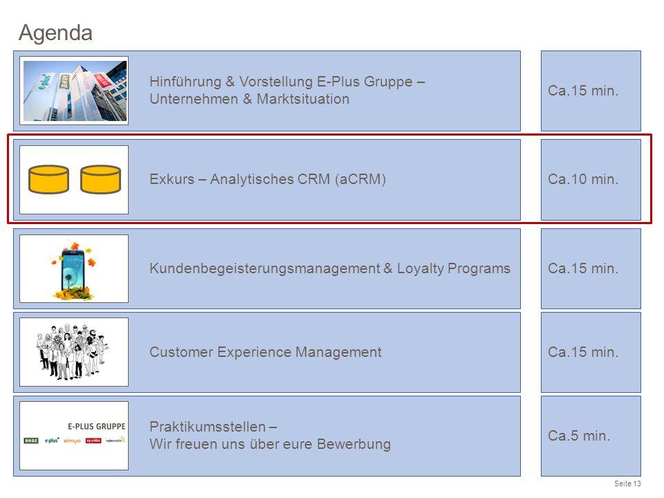 Agenda Seite 13 Praktikumsstellen – Wir freuen uns über eure Bewerbung Ca.5 min. Hinführung & Vorstellung E-Plus Gruppe – Unternehmen & Marktsituation