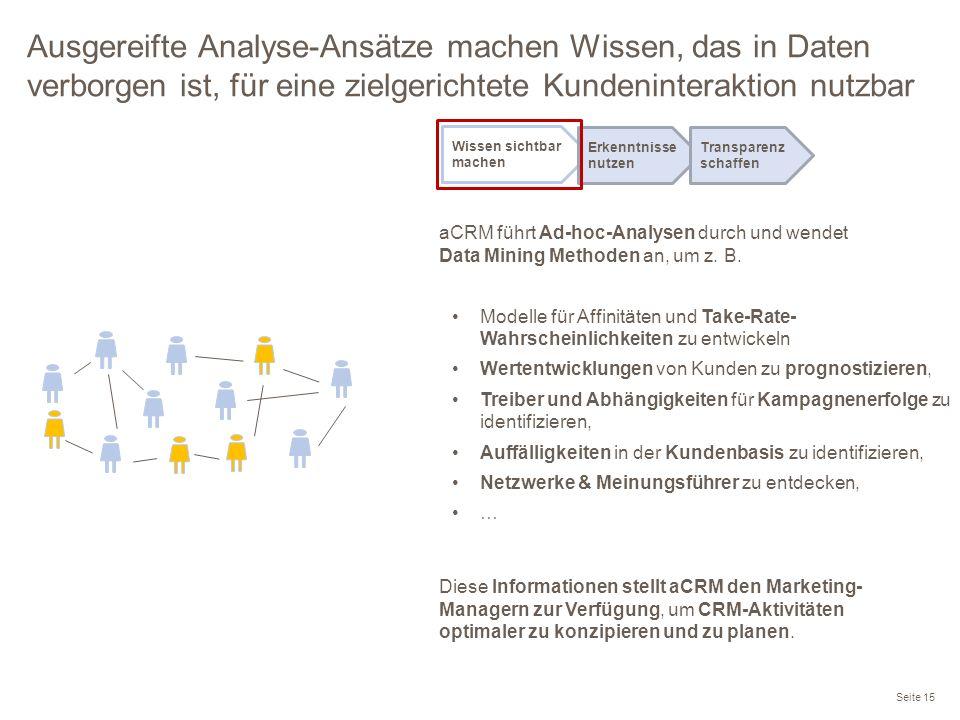 Ausgereifte Analyse-Ansätze machen Wissen, das in Daten verborgen ist, für eine zielgerichtete Kundeninteraktion nutzbar Modelle für Affinitäten und T