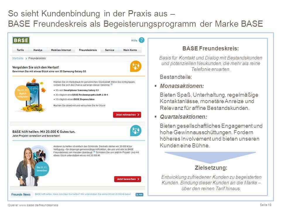 So sieht Kundenbindung in der Praxis aus – BASE Freundeskreis als Begeisterungsprogramm der Marke BASE Seite 19 Quelle: www.base.de/freundeskreis BASE