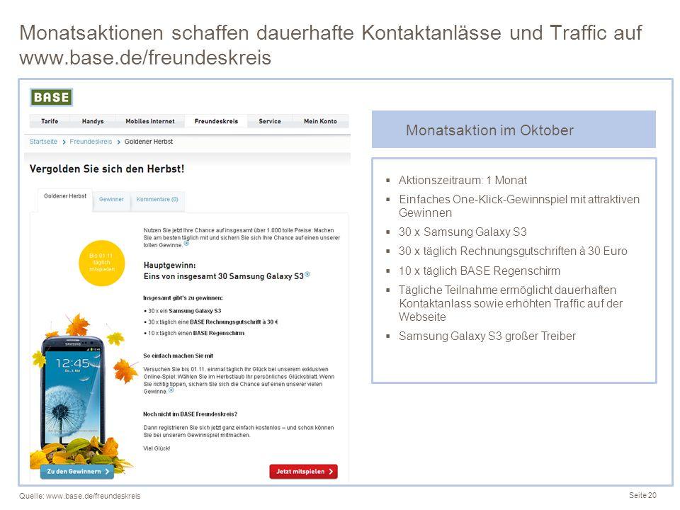 Monatsaktionen schaffen dauerhafte Kontaktanlässe und Traffic auf www.base.de/freundeskreis Seite 20 Quelle: www.base.de/freundeskreis Aktionszeitraum
