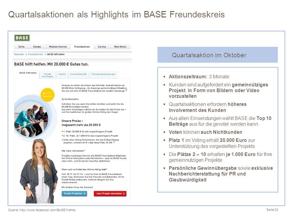 Quartalsaktionen als Highlights im BASE Freundeskreis Seite 23 Quelle: http://www.facebook.com/BASE?ref=ts Aktionszeitraum: 3 Monate Kunden sind aufge