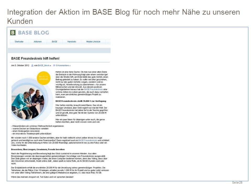 Integration der Aktion im BASE Blog für noch mehr Nähe zu unseren Kunden Seite 26