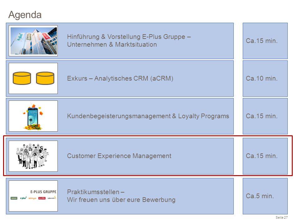 Agenda Seite 27 Praktikumsstellen – Wir freuen uns über eure Bewerbung Ca.5 min. Hinführung & Vorstellung E-Plus Gruppe – Unternehmen & Marktsituation