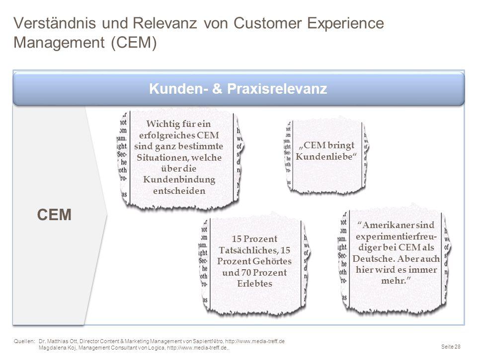 Verständnis und Relevanz von Customer Experience Management (CEM) Seite 28 Quellen: Dr. Matthias Ott, Director Content & Marketing Management von Sapi