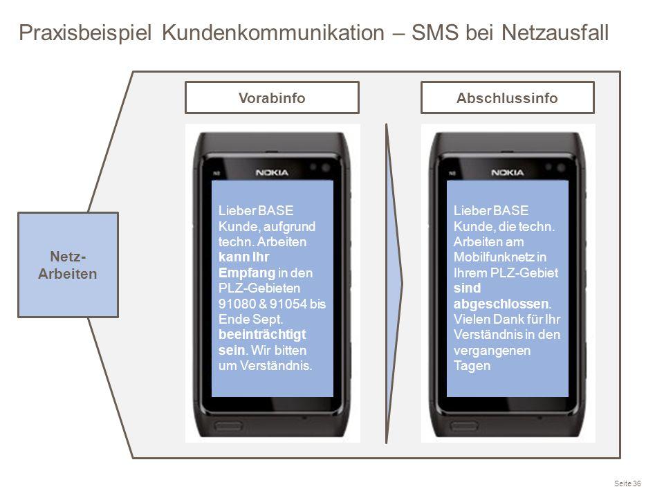 Praxisbeispiel Kundenkommunikation – SMS bei Netzausfall Seite 36 Lieber BASE Kunde, aufgrund techn. Arbeiten kann Ihr Empfang in den PLZ-Gebieten 910