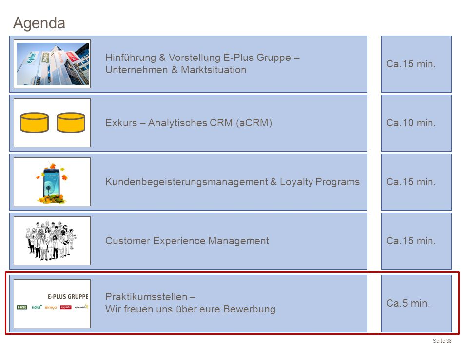 Agenda Seite 38 Praktikumsstellen – Wir freuen uns über eure Bewerbung Ca.5 min. Hinführung & Vorstellung E-Plus Gruppe – Unternehmen & Marktsituation