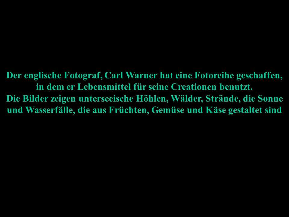 Der englische Fotograf, Carl Warner hat eine Fotoreihe geschaffen, in dem er Lebensmittel für seine Creationen benutzt.
