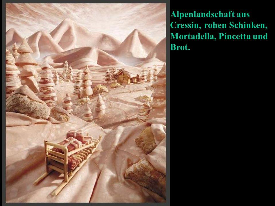 Alpenlandschaft aus Cressin, rohen Schinken, Mortadella, Pincetta und Brot.