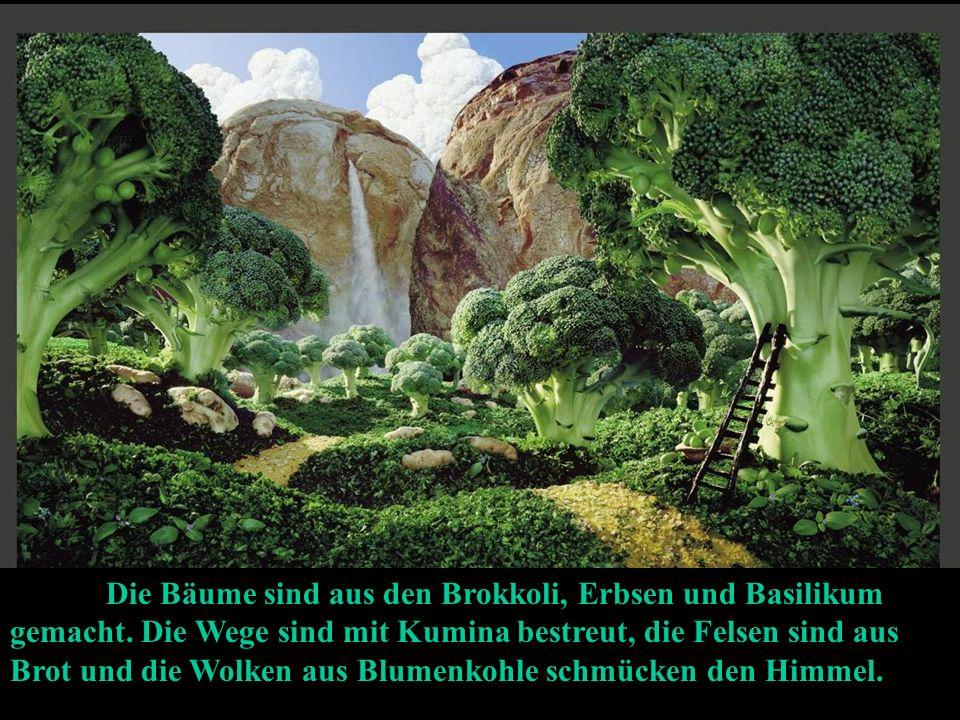 Die Bäume sind aus den Brokkoli, Erbsen und Basilikum gemacht.