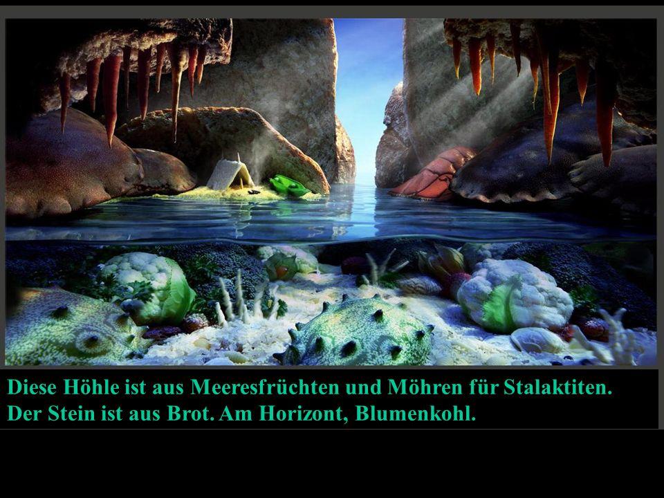 Diese Höhle ist aus Meeresfrüchten und Möhren für Stalaktiten.
