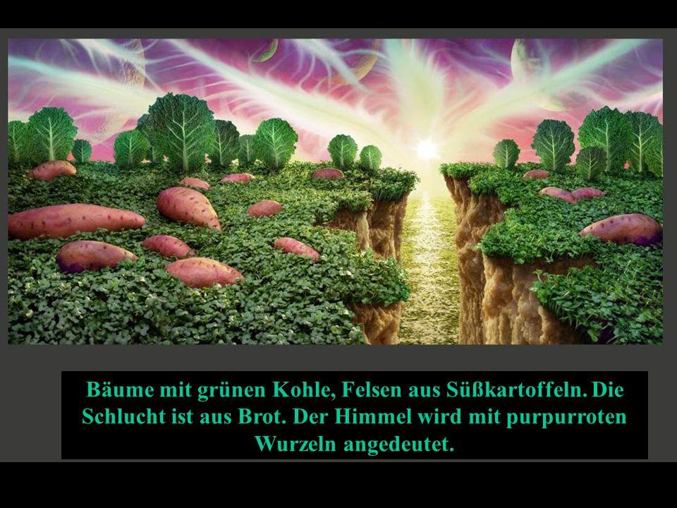 Bäume mit grünen Kohle, Felsen aus Süßkartoffeln.Die Schlucht ist aus Brot.