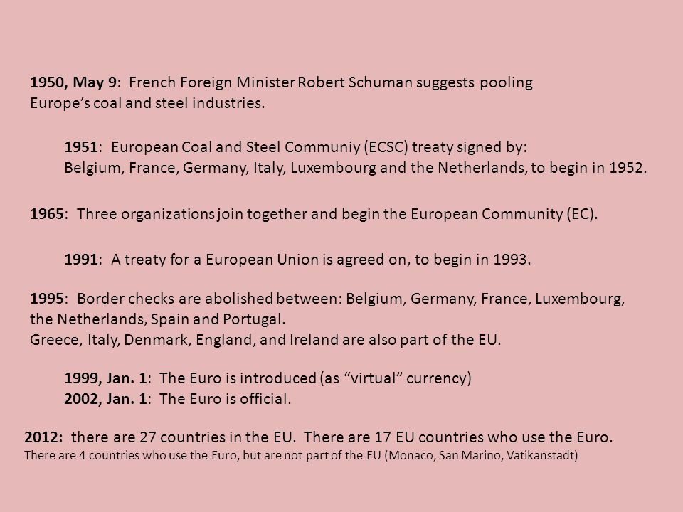 1950, May 9: French Foreign Minister Robert Schuman suggests pooling Europes coal and steel industries. 1951: European Coal and Steel Communiy (ECSC)