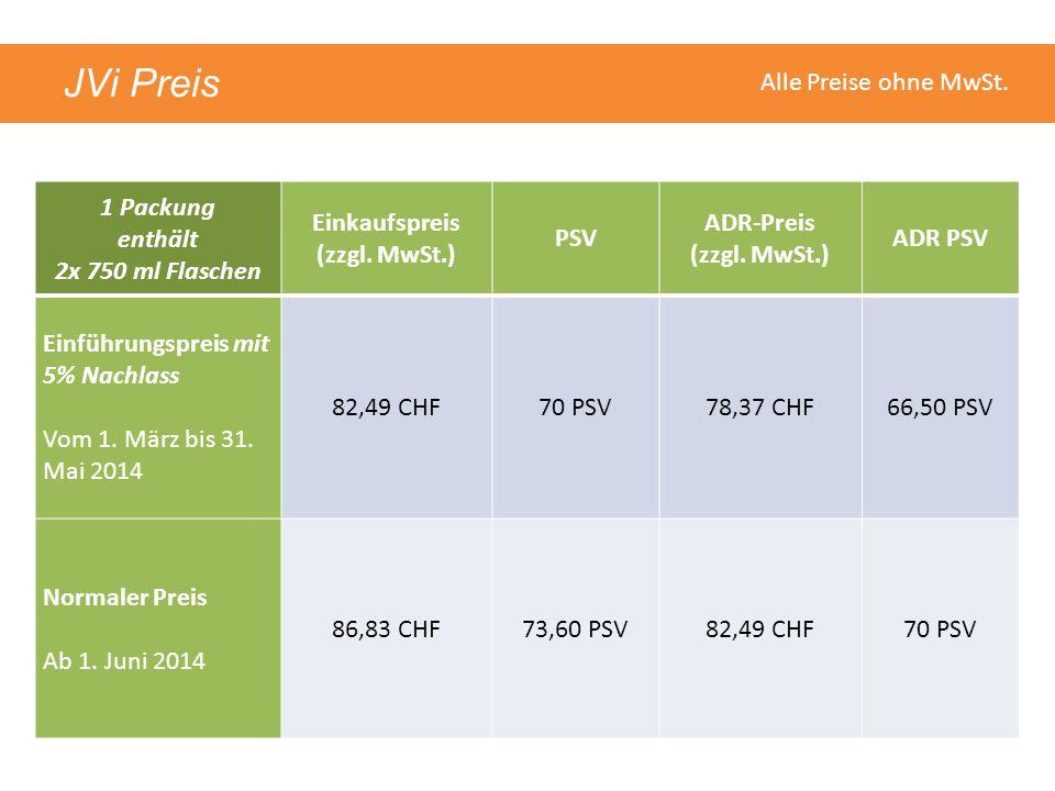 JVi Preis 1 Packung enthält 2x 750 ml Flaschen Einkaufspreis (zzgl. MwSt.) PSV ADR-Preis (zzgl. MwSt.) ADR PSV Einführungspreis mit 5% Nachlass Vom 1.
