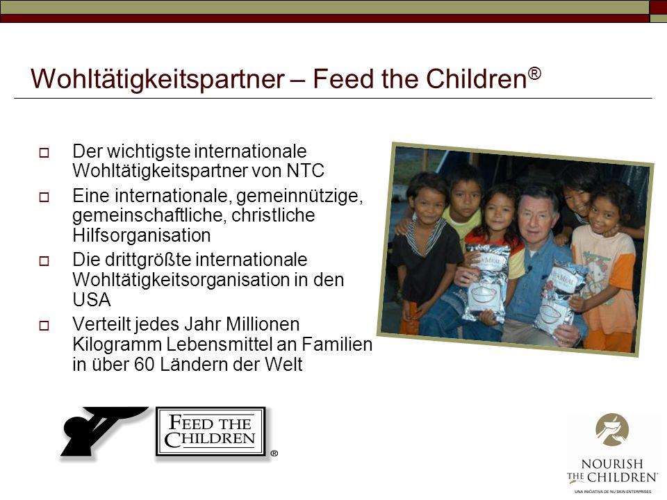 Wohltätigkeitspartner – Feed the Children ® Der wichtigste internationale Wohltätigkeitspartner von NTC Eine internationale, gemeinnützige, gemeinschaftliche, christliche Hilfsorganisation Die drittgrößte internationale Wohltätigkeitsorganisation in den USA Verteilt jedes Jahr Millionen Kilogramm Lebensmittel an Familien in über 60 Ländern der Welt