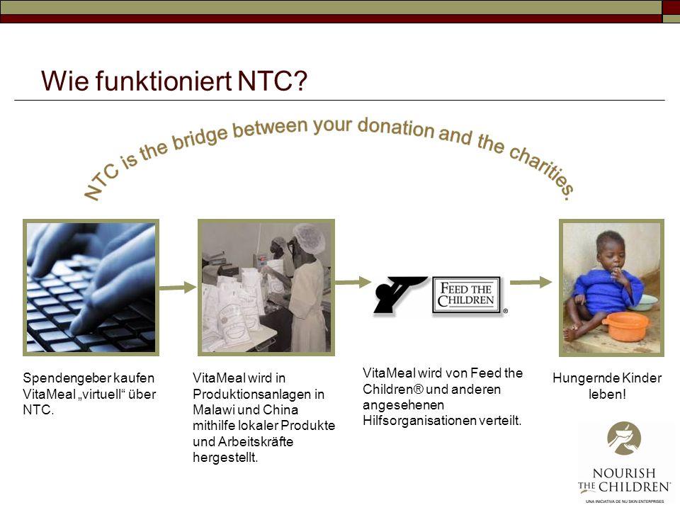 Wie funktioniert NTC? Spendengeber kaufen VitaMeal virtuell über NTC. VitaMeal wird in Produktionsanlagen in Malawi und China mithilfe lokaler Produkt