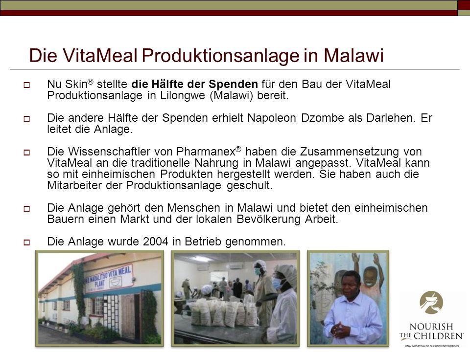 Die VitaMeal Produktionsanlage in Malawi Nu Skin ® stellte die Hälfte der Spenden für den Bau der VitaMeal Produktionsanlage in Lilongwe (Malawi) bereit.