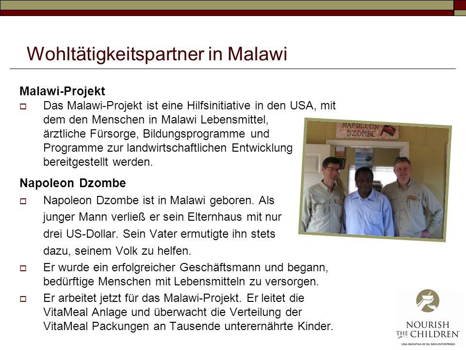 Wohltätigkeitspartner in Malawi Malawi-Projekt Das Malawi-Projekt ist eine Hilfsinitiative in den USA, mit dem den Menschen in Malawi Lebensmittel, ärztliche Fürsorge, Bildungsprogramme und Programme zur landwirtschaftlichen Entwicklung bereitgestellt werden.