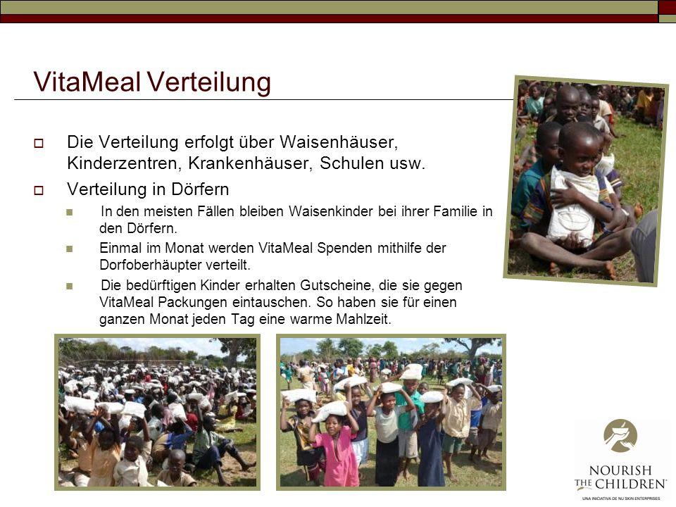 VitaMeal Verteilung Die Verteilung erfolgt über Waisenhäuser, Kinderzentren, Krankenhäuser, Schulen usw. Verteilung in Dörfern In den meisten Fällen b