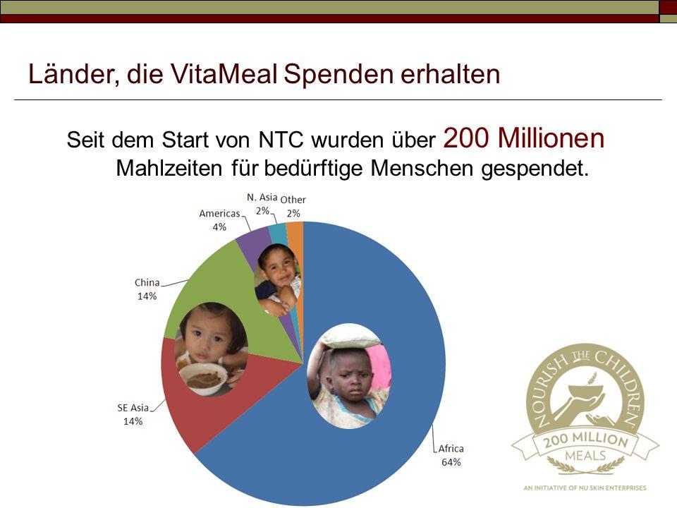 Seit dem Start von NTC wurden über 200 Millionen Mahlzeiten für bedürftige Menschen gespendet. Länder, die VitaMeal Spenden erhalten