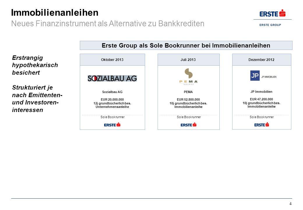 Immobilienanleihen Sozialbau AG EUR 20.000.000 12j grundbücherlich bes. Unternehmensanleihe Oktober 2013 Sole Bookrunner PEMA EUR 52.800.000 10j grund