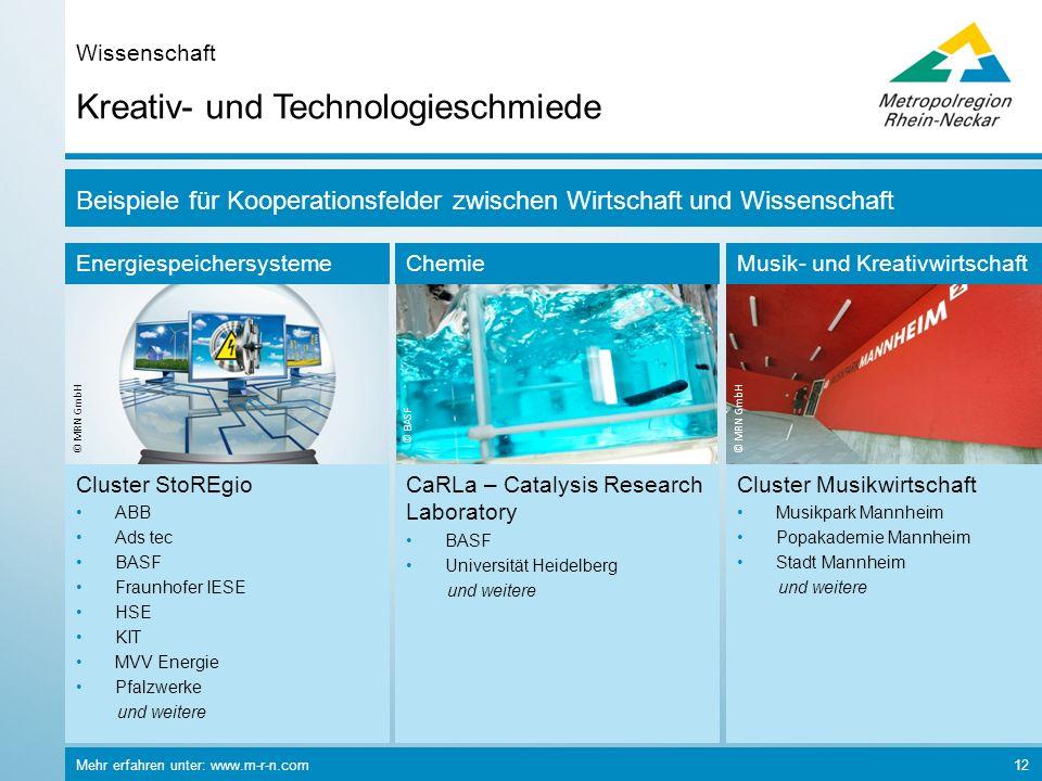 Energiespeichersysteme © MRN GmbH Chemie © BASF Musik- und Kreativwirtschaft © MRN GmbH Mehr erfahren unter: www.m-r-n.com 12 Kreativ- und Technologie