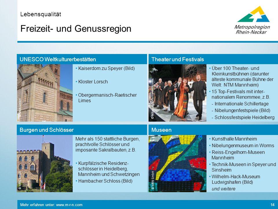 Mehr erfahren unter: www.m-r-n.com 14 Freizeit- und Genussregion Lebensqualität © MRN GmbH Mehr als 150 stattliche Burgen, prachtvolle Schlösser und i
