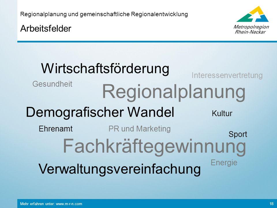 Mehr erfahren unter: www.m-r-n.com 18 Arbeitsfelder Regionalplanung und gemeinschaftliche Regionalentwicklung Verwaltungsvereinfachung Ehrenamt Kultur