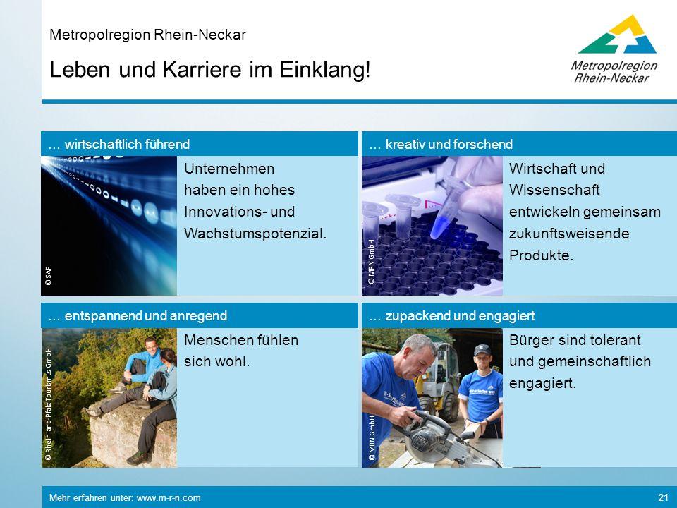 Mehr erfahren unter: www.m-r-n.com 21 Leben und Karriere im Einklang! Metropolregion Rhein-Neckar © Rheinland-Pfalz Tourismus GmbH Menschen fühlen sic