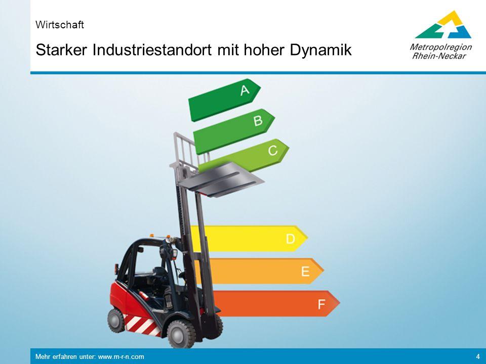 Mehr erfahren unter: www.m-r-n.com 5 Starker Industriestandort mit hoher Dynamik Wirtschaft Bruttoinlandsprodukt: 78,2 Mrd.