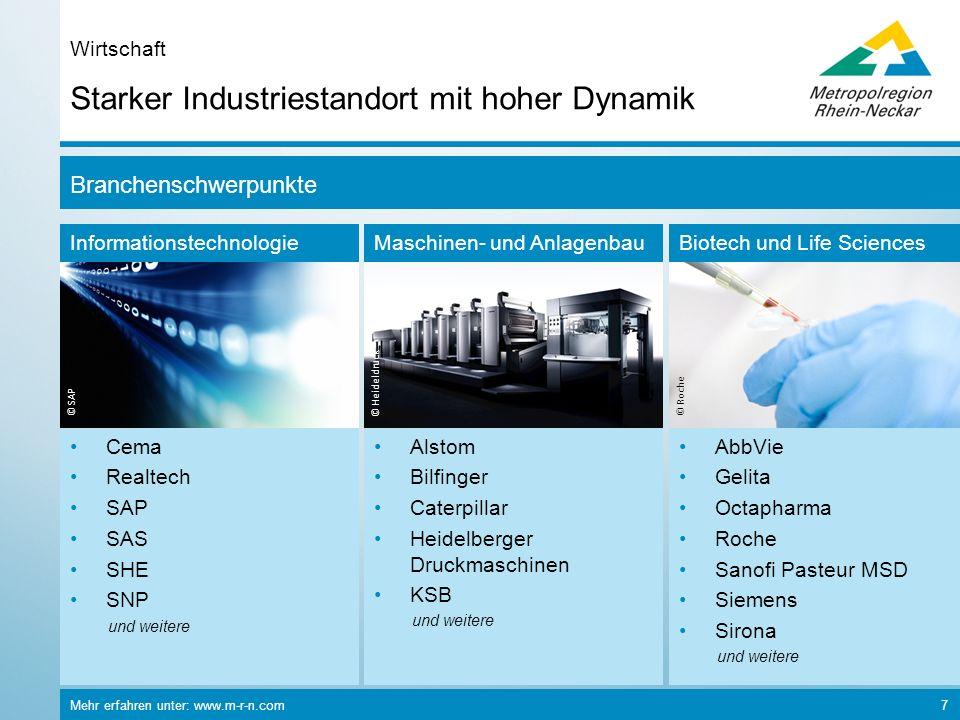 Mehr erfahren unter: www.m-r-n.com 7 Starker Industriestandort mit hoher Dynamik Wirtschaft Informationstechnologie © SAP Maschinen- und Anlagenbau ©
