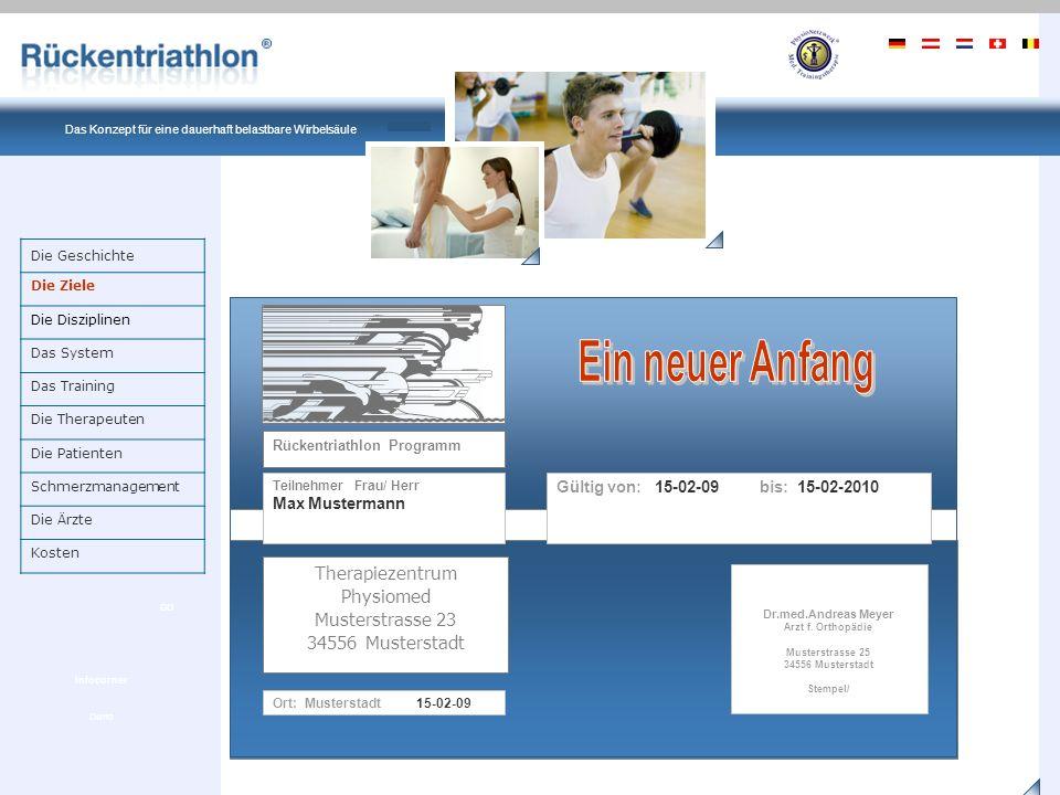 Ein Produkt von PhysioNetzwerk Deutschland Das Konzept für eine dauerhaft belastbare Wirbelsäule Demo GO Infocorner Was ist Rückentriathlon .