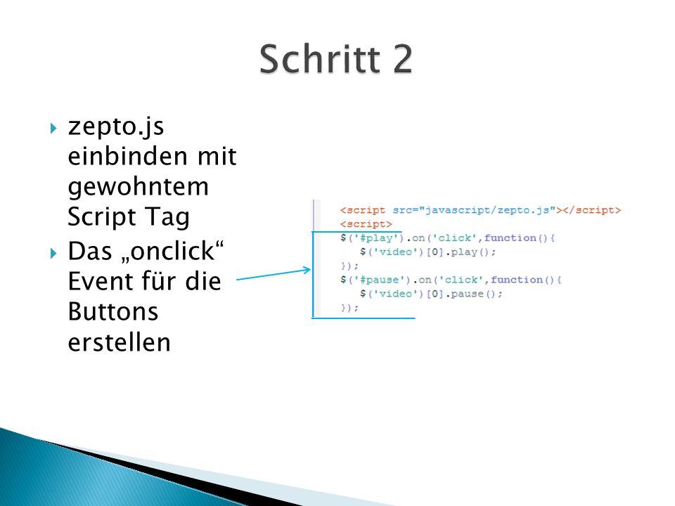 Das $ bindet das Event ein # einbinden des Buttons (mit ID) Punktoperator onklick Event wird eingebunden function startet die Funktion des Video abspielens [0] Kennnummer für (sozusagen) ; schließt das Event ab