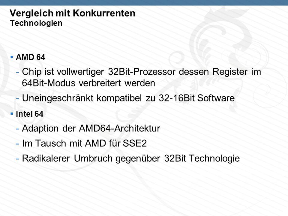 Vergleich mit Konkurrenten Technologien AMD 64 -Chip ist vollwertiger 32Bit-Prozessor dessen Register im 64Bit-Modus verbreitert werden -Uneingeschränkt kompatibel zu 32-16Bit Software Intel 64 -Adaption der AMD64-Architektur -Im Tausch mit AMD für SSE2 -Radikalerer Umbruch gegenüber 32Bit Technologie
