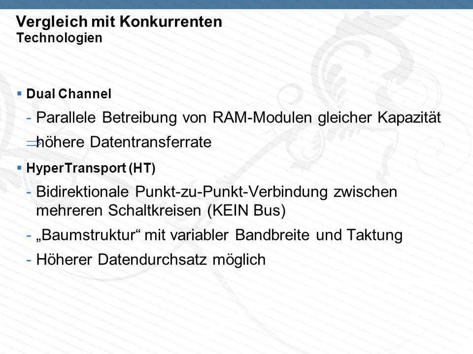 Vergleich mit Konkurrenten Technologien Dual Channel -Parallele Betreibung von RAM-Modulen gleicher Kapazität höhere Datentransferrate HyperTransport (HT) -Bidirektionale Punkt-zu-Punkt-Verbindung zwischen mehreren Schaltkreisen (KEIN Bus) -Baumstruktur mit variabler Bandbreite und Taktung -Höherer Datendurchsatz möglich