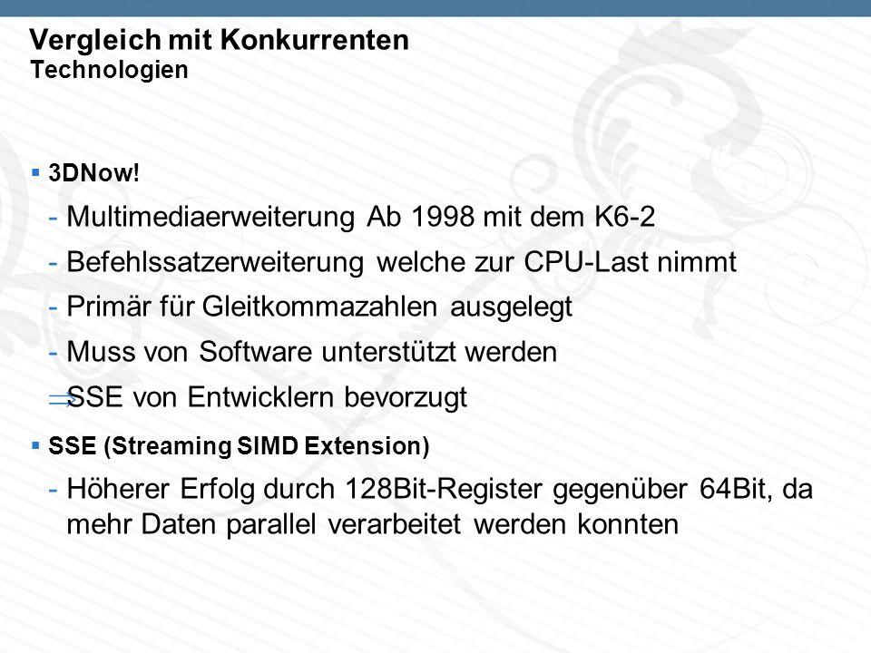 Vergleich mit Konkurrenten Technologien 3DNow! -Multimediaerweiterung Ab 1998 mit dem K6-2 -Befehlssatzerweiterung welche zur CPU-Last nimmt -Primär f